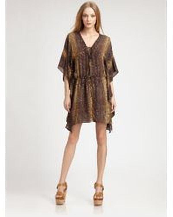795 NEW Haute Hippie Beaded Silk Embellished Silk Python Caftan Dress size XS S