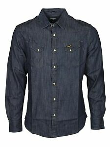 MENS-WRANGLER-DENIM-LS-SHIRT-LONG-SL-CASUAL-REGULAR-FIT-IN-DARK-SMART-BLUE-SHIRT