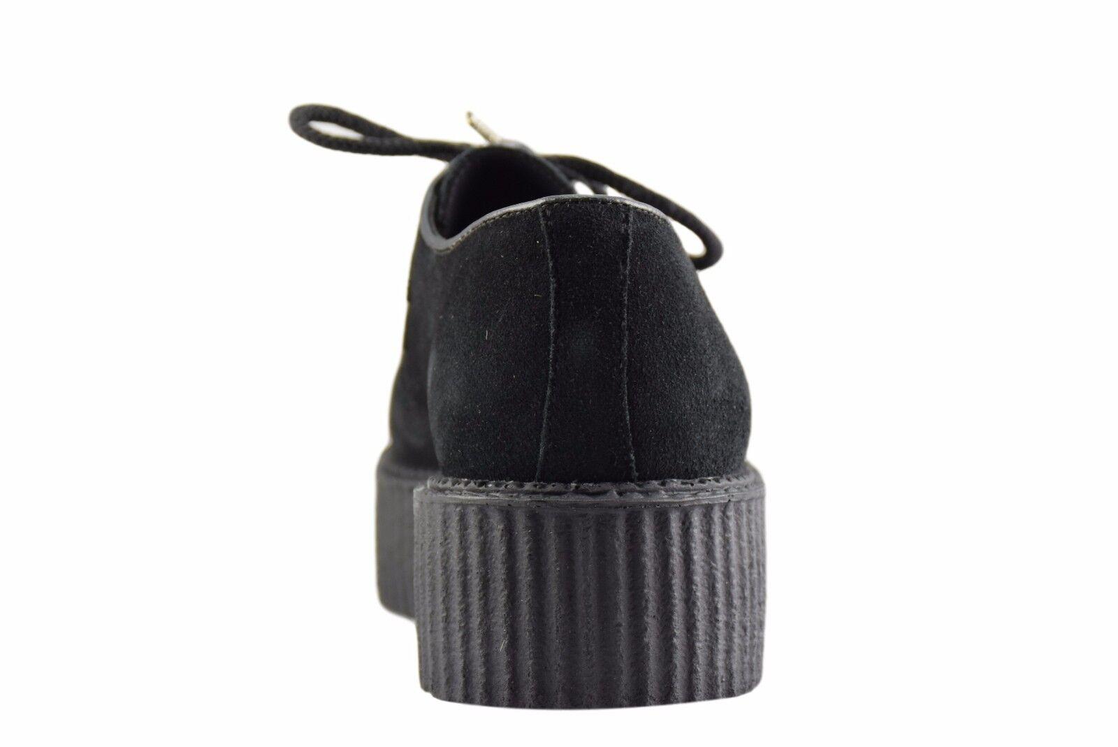 Scarpe di terra in acciaio neri in pelle scamosciata Suola Suola scamosciata Creepers Alte D Anello casual rock Sc300Z4 12acd1
