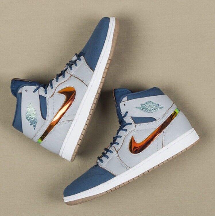 Nike Air Jordan 1 retro de High nouv azul gris de retro goma multicolor oro 819176-0SZ 14 d84a28