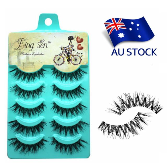 AU Stock 5Pairs Natural Eye Lashes Black Handmade Messy Cross False Eyelashes