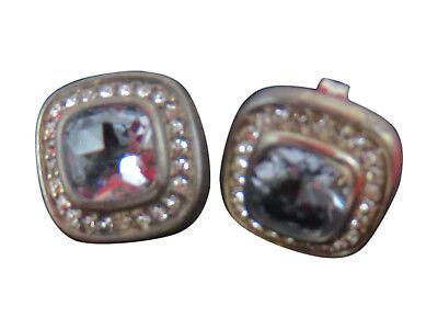 Judith Jack Sterling Silver Pierced Earrings Blue Topaz Crystal Marcasite 811g