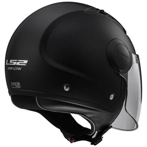 LS2 OF562 Open Face Motorbike Motorcycle Helmet Plain Airflow Long Visor Black