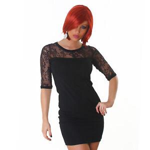 Elegantes-Kleid-mit-Spitze-Minikleid-Kleid-Cocktailkleid-Schwarz-Groesse-34-36-38