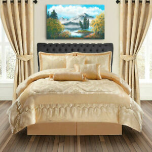 Luxury-Bedspread-7-Piece-Jacquard-Comforter-Set-Double-King-Super-King-Golden