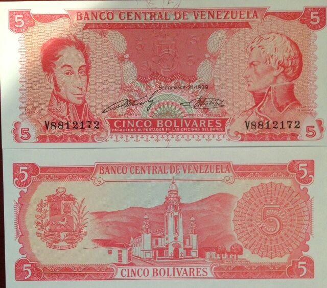 8 digit Seial # Venezuela 5 Bolivares P 70b 1989 UNC Low Shipping Combine FREE