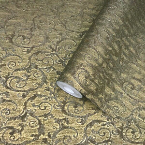 Image Is Loading Victorian Textured Non Woven Wallcoverings Modern Damask Gold