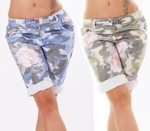 Damen-Shorts-Bermudas-Capri-Jeans-Hose-Kurzehose-mit-Blumenprint