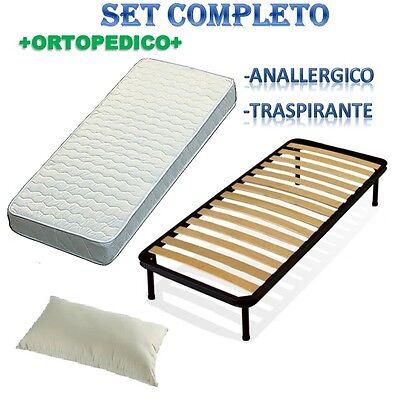 Set 80x190 Rete Doghe + Materasso A Molle Ortopedico +guanciale Fibra Diversificato Nell'Imballaggio