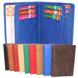 Echt-Leder-Ausweismappe-Ausweistasche-Visitenkarten-Kartenetui-Damen-Herren-blau