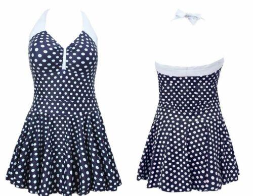 Ladies Polka Dot One Piece Swimming Costume Swimwear Swim Dress Skirt 8-12