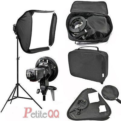 60x60cm Bowens S-type Speedlite Softbox Bracket Mount + 2m Photo Light Stand Kit