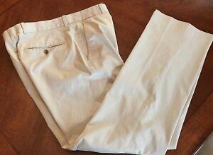 EXPRESS-Producer-Dress-Pants-Tan-Beige-Pinstripe-Mens-31-x-32-Slacks-Flat-Front