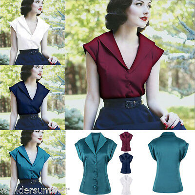 Fashion Women Vintage Pinup Cap Sleeve Retro Blouse Top Rockabilly 50s Shirt Top