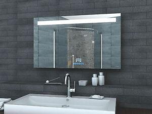 Badspiegel LED Beleuchtung Uhr Radio MP3 und TOUCH SCHALTER ...
