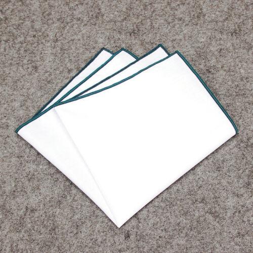Men Pocket Square Handkerchief Cotton Solid WHITE Color Edge Handkerchiefs