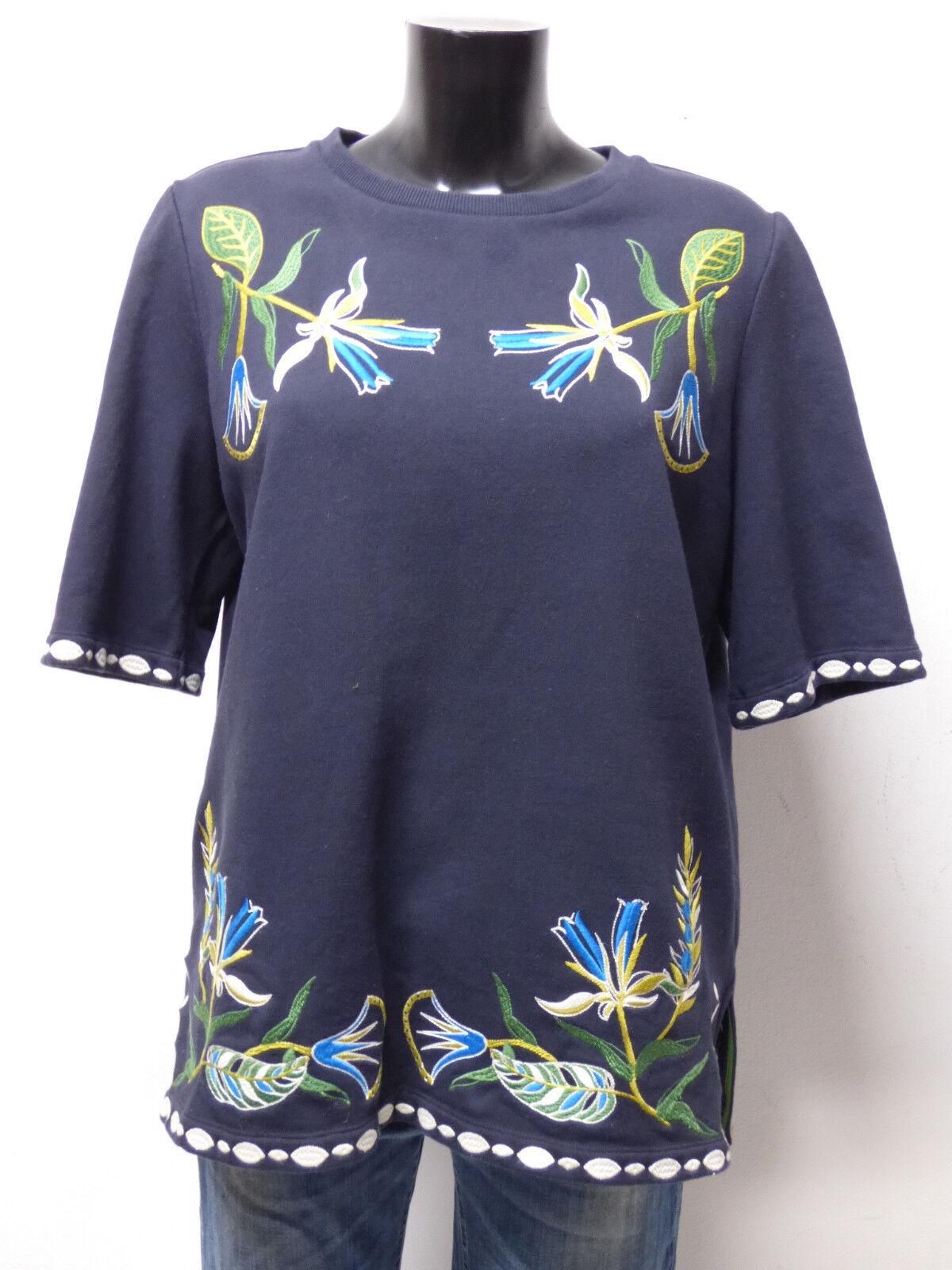 Tory Burch Jersey señora talla L de azul  con patrones & lujo pur (p 3597)  muchas concesiones