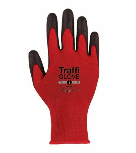 Durable Lightweight TRAFFI Gloves TG1050-09 Level 1Size 9 Latex Palm Coated