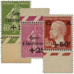 FRANCE SERIE N°253 À 255 CAISSE D'AMORTISSEMENT, TIMBRES NEUFS-1929