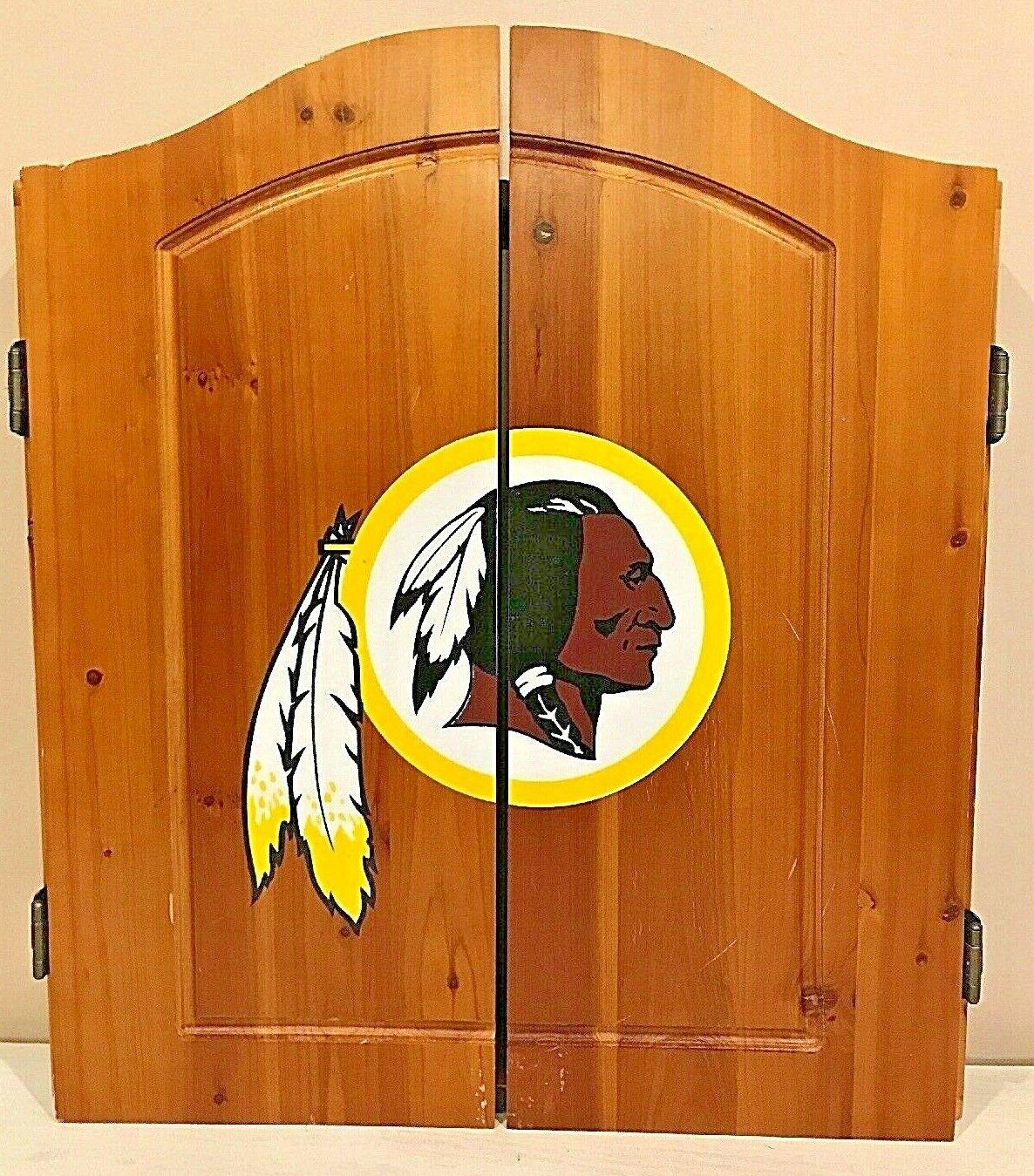 rotskins Football Wood Dart Board Cabinet Doors Wall Mounted