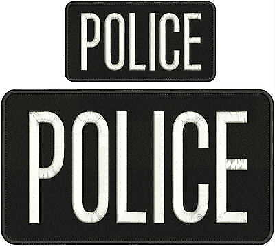 POLICE embroidery patches 4x10 and 2x5 hook on back white letters
