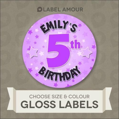 edad y color3 Tamaños Cumpleaños Personalizado Pegatinas Etiquetasseleccionar nombre