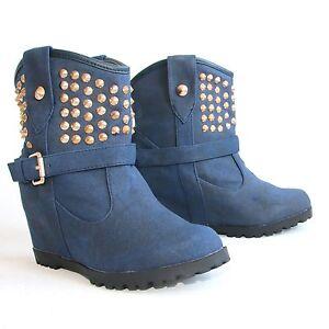 Stiefeletten-38-Blau-Versteckter-Keilabsatz-Wedges-Boots-Stiefel-Shoes-H197