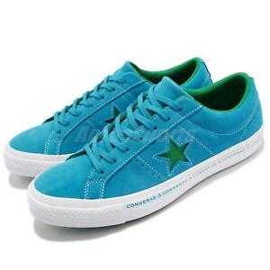 Image is loading Converse-One-Star-Pinstripe-Blue-Green-Suede-Mens- e229696ca