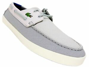 375596f6ae72 Lacoste Men s Keellson 217 Boat Shoes Grey Canvas Suede Size 11.5 M ...