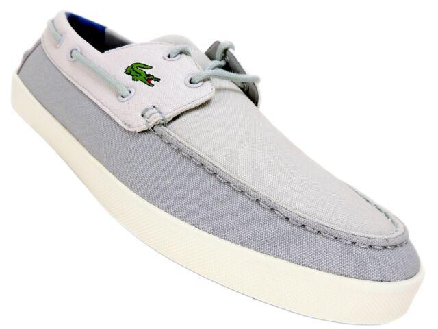 wholesale dealer 7ad3b 9330b Lacoste Men s Keellson 217 Boat Shoes Grey Canvas Suede Size 11.5 M