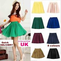 Fashion Retro high waist pleated double layer chiffon Short Mini Skirt Dress UK