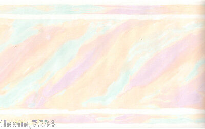 Water Color Pastel Abstract Blue Pink Brush Stroke Peach Pearl Wall Paper Border Ebay