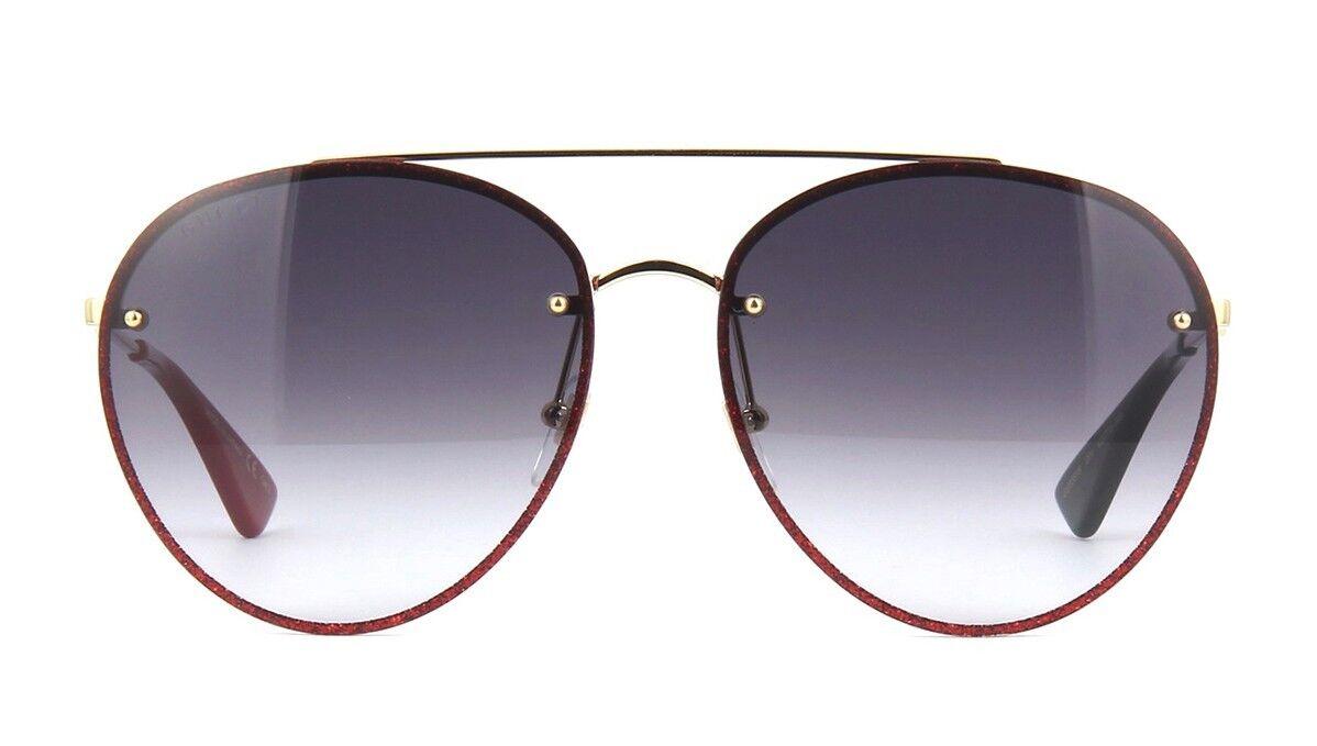 43bb561abb2 Gucci 0351 Metal Gold Red Glitter Oversized Aviator Sunglasses ...