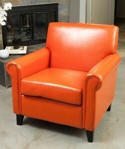 Amazing Details About Orange Leather Club Chair Accent Rolled Arm Chairs Armchairs Office Armchair New Pdpeps Interior Chair Design Pdpepsorg