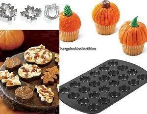 New Wilton Mini Pumpkin Cupcake Muffin Cake Pan Amp 9 Pc