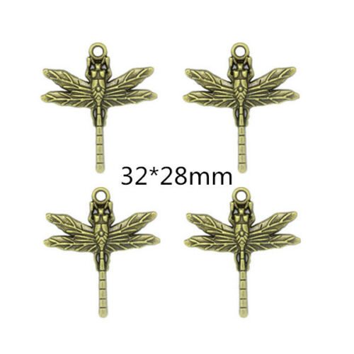 8 Butterfly Dragonfly Tibet Bronze Charms DIY Pendant Jewelry Making Crafts