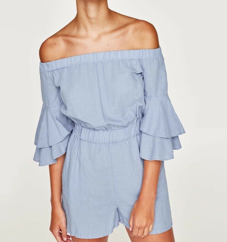 Zara New AW17 Jumpsuits With Ruffled Sleeves Size L NWT