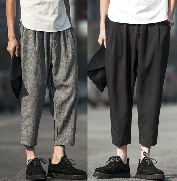 New Mens Cotton Linen Casual Loose Wide Legs Harem pants Trousers Comfort F903