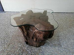 Tavolo In Vetro Con Base In Legno.Dettagli Su Tavolo Tavolino Da Caffe Base Radice In Legno Etnico Con Vetro Cod 4 S 70 X 75