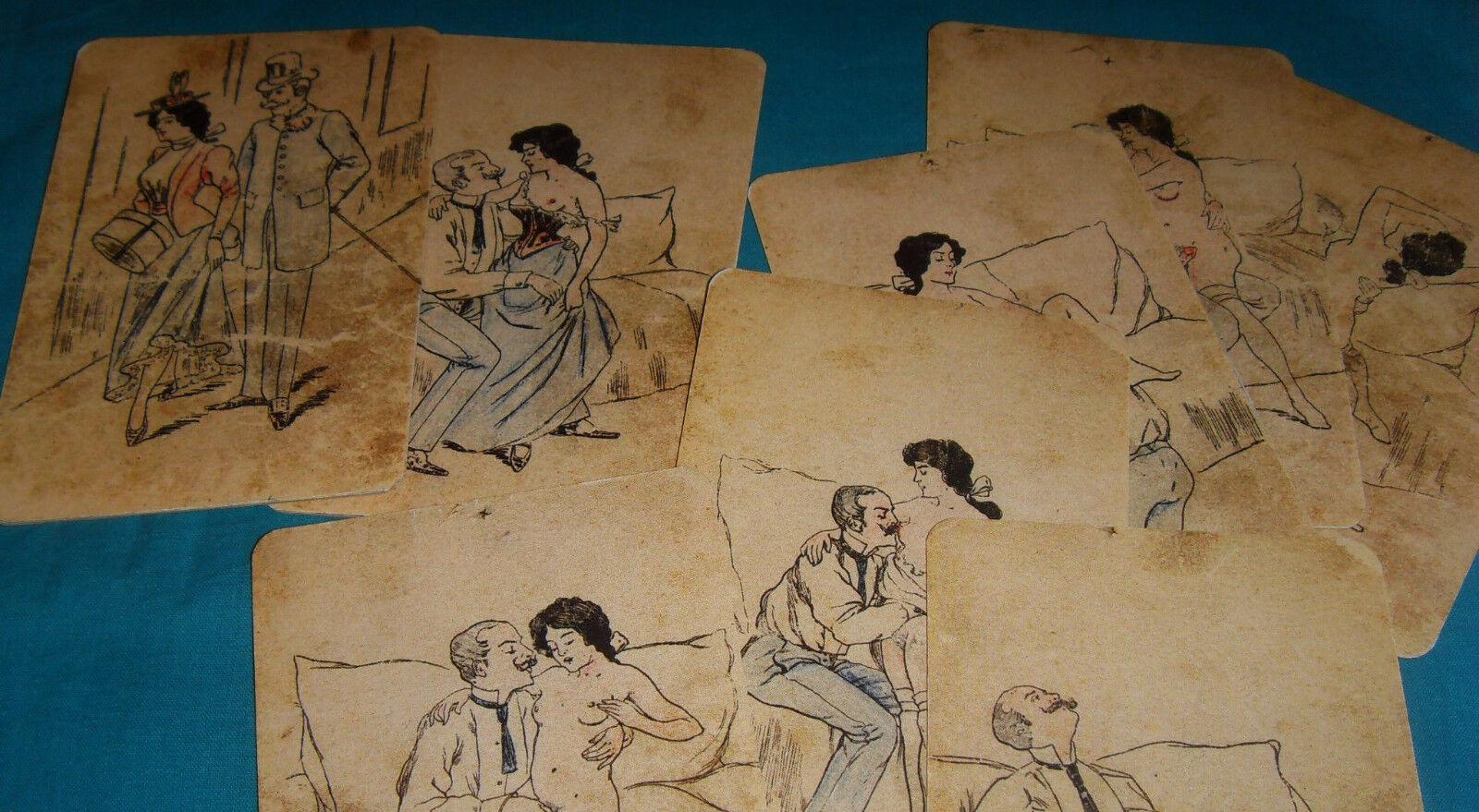 Ancien jeu de  8 voituretes érougeiques grand format Tijuana Bible curiosa (repro)  le plus en vogue