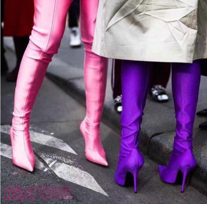 Roman para mujer elástica a la la la rodilla Muslo Tacones Altos Zapatos botas altas de noche 55d0d8
