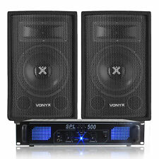 """2x Vonyx 8"""" PA Disco Speakers + Amplifier + Cables House Party DJ System 800W"""