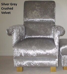 Chair Armchair Silver Grey Crushed Velvet Fabric Silver