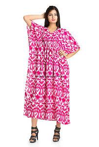 Pink-Ikat-Print-Kimono-Kaftan-Boho-Hippy-Plus-Size-Women-Tunic-Drawstring-Waist
