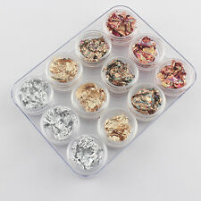 12pcs Nail Art GOLD SILVER COPPER Foil Paillette Chip Flakes Wraps Decro Tips