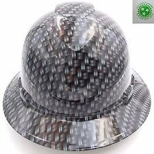 Custom pyramex Full Brim) Hard Hat W/ratchet suspension METAL WEAVE CARBON FIBER