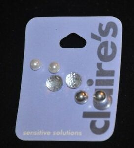 87adce3f49a6f Claire's Set of 3 Sensitive Solutions Faux Pearl, Clear, Silver Ball ...