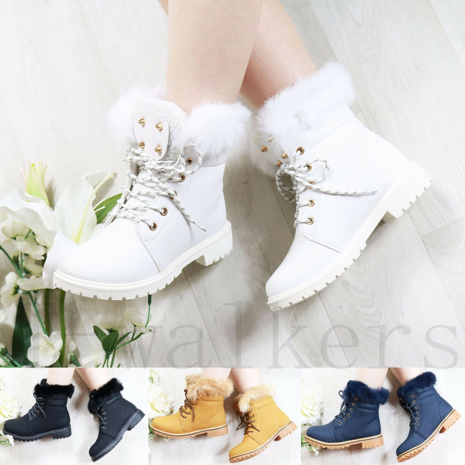WOMENS LADIES FUR LINED FLAT GRIP SOLE WINTER ANKLE BOOTS TRAINERS SHOES SIZE
