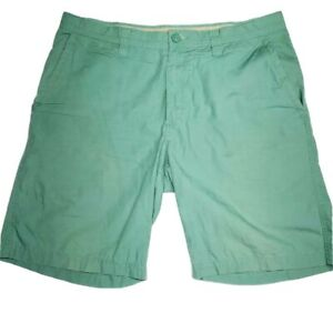 Columbia-Sportswear-Mens-Chino-Shorts-Green-Flat-Front-Pockets-100-Cotton-36