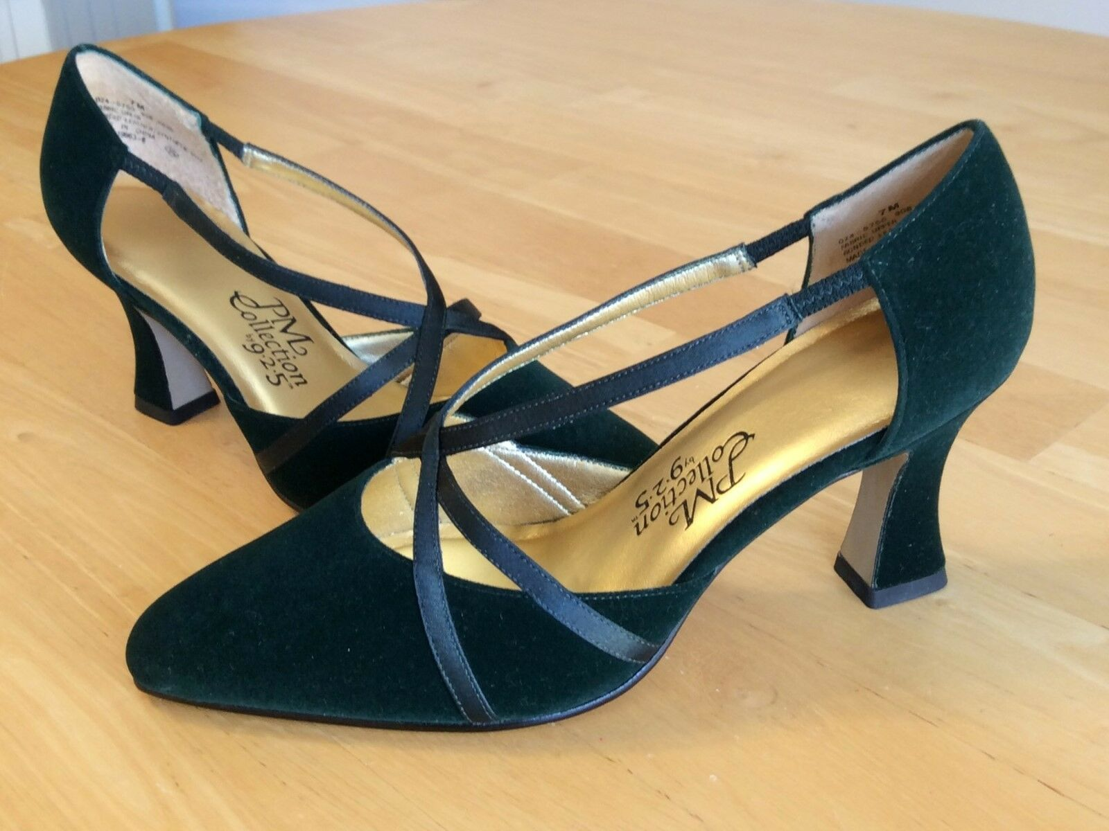 Women's 925 PM Shoes Collection By 925 Women's Forest Green Suede Heels Size 7M w/BOX NEW 04b092